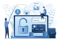 Data phishing concept background. Online scam, malware and password phishing. User with laptop and hacker in mask attack computer and steals information.Financial Security Problem. Vector illustration