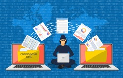 Data phishing, hacker attack.Thief hacker in mask stealing personal information from laptop. Concept hacking. Vector illustration in flat style