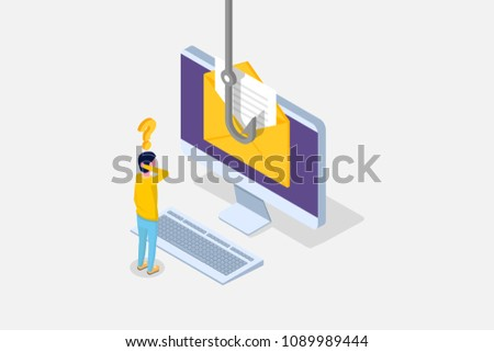 Data phishing isometric, hacking online scam on desktop concept. Fishing by email, envelope and fishing hook. Cyber thief. Vector illustration.