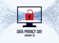 Data Privacy Day vector. Protected computer vector. Computer with red lock icon. Data Privacy Day Poster, January 28. Important day
