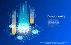Data processing, big data analysis flat 3d isometric vector concept illustration