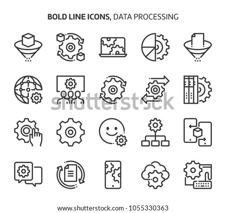 Data processing, bold line icons. The illustrations are a vector, editable stroke, 48x48 pixel perfect files. Crafted with precision and eye for quality.