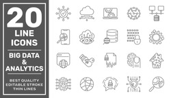 Data Processing line vector icon set. Contains such icons as Big Data, Data Analytics, Data Collection, Cloud Computing, Machine Learning, Security System. Editable Stroke. EPS 10