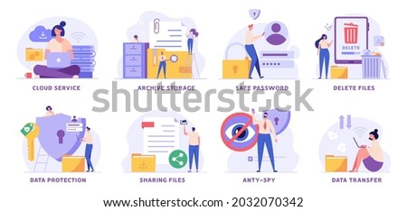 Data protection and cloud storage vector illustration set. People protecting files with safe password, sharing document and cleaning phone. Collection of archive storage, anti-spy, delete trash files