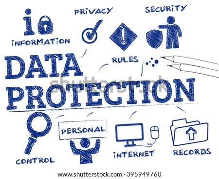 data protection. Chart with keywords and icons