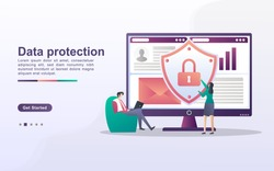 Data protection concept. People secure data management and protect data from hacker attacks. Back up and save important data. Can use for web landing page, banner, mobile app. Vector Illustration