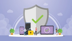 data protection concept with big shield and padlock with data server database with modern flat style - vector