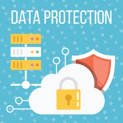 Data protection flat illustration. Abstract flat design concepts for web banners, web sites, printed materials. Creative vector illustration