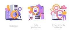 Data protection metaphors set. Database, cyber security, control, protection of computer services and electronic information colorful icons pack. Vector isolated concept metaphor illustrations
