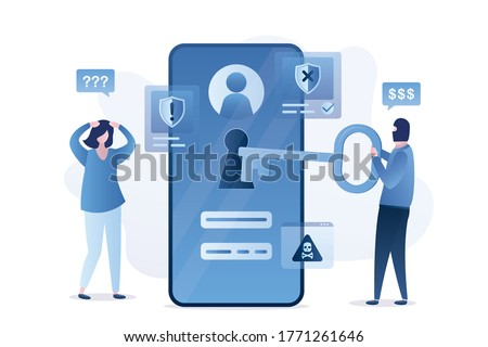 Data protection, mobile with bad antivirus. Hacker holds big key and unlock smartphone. Sad woman user. Scam alert, network piracy danger, spamming. Hacker steals passwords. Flat vector illustration Сток-фото ©