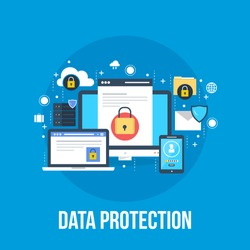 Data Protection, privacy, and internet security flat vector concept
