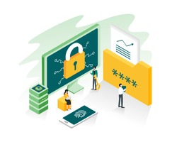 Data protection, privacy, data security and internet security concept in isometric