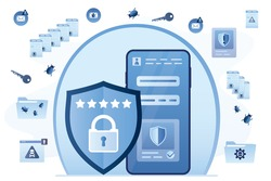 Data protection, smartphone with effective antivirus. Cell Phone in safe bubble. Virus detection. Scam alert, network piracy. Web data infected with viruses, spam. Protective shield, firewall. Vector