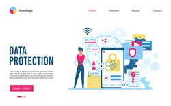 Data Protection software and privacy flat vector illustration web landing template page. Confidential data acces, internet security, antivirus software services, business cloud computing security