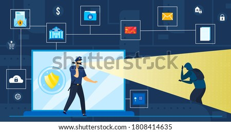 Data protection vector illustration. Cartoon flat police officer or security guard protecting, looking for cyber thief of personal information, account password, cybercrime protect concept background Stock photo ©