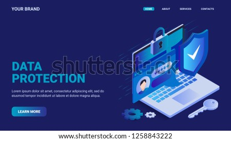 Data protection website concept. Online security concept. Laptop protected with shield and lock, personal password enter, gears and key. Isometric vector illustration for landing page.