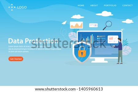 data protection, website template, vector layered, easy to edit and customize, illustration concept