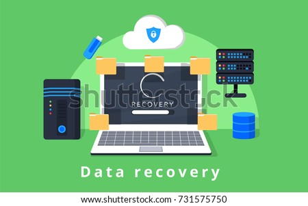 Data recovery, data backup, restoration and security flat design vector with icons. Vector illustration. Data protection concept web banner. Flat style. Internet security. For cloud services add