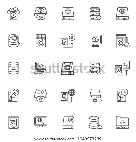 Data recovery elements outline icons set. linear style symbols collection, line signs pack. vector graphics. Set includes icons as cloud backup, upload hard drive disk, computer server, transfer disk