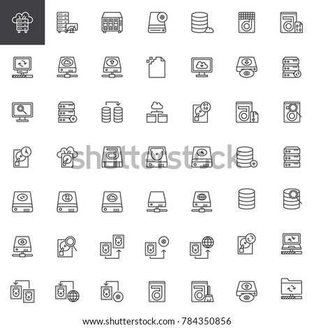 Data recovery line icons set, outline vector symbol collection, linear style pictogram pack. Signs, logo illustration. Set includes icons as hard drive disk, store binary file, transfer data