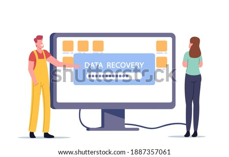 Data Recovery Service, Backup, Hardware Protection Repair Concept. Tiny Male Character in Worker Uniform Presenting Huge Monitor with File Folders. Client Support. Cartoon People Vector Illustration Photo stock ©