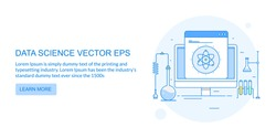 Data science, Data Research line vector banner with icons and texts