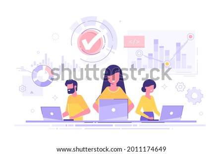 Data scientists, software engineer, statistician, programmers, visualizer and analyst working on a project. Big Data analysis concept. Professional team working together. Modern vector illustration.