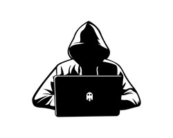 Data security and protection. Mysterious and anonymous hacker man in hoodie jacket looking at a laptop - Black and white vector line art illustration icon.