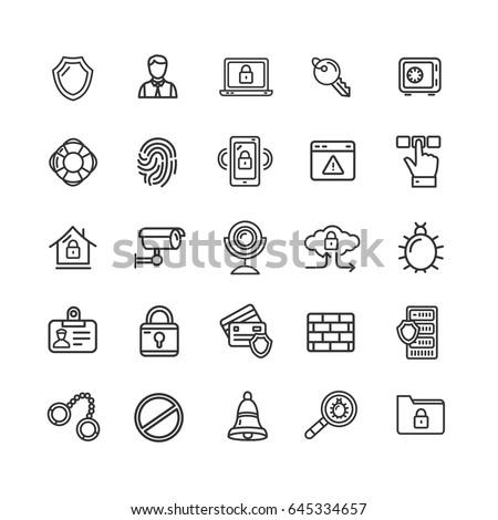 Data Security and Safe Icon Black Thin Line Set for Web and App Isolated on White Background. Vector illustration