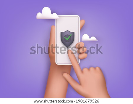 Data security concept. Mobile security app on smartphone screen.  3D Web Vector Illustrations.