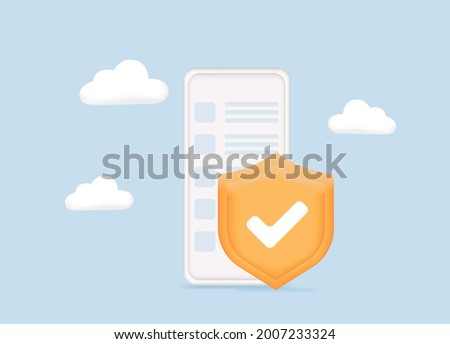 Data security concept. Mobile security app on smartphone screen. Data security protection. Security and antivirus protection. Data center. Website template. 3D Vector Illustrations. Web banner