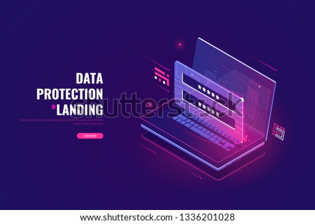 Data security, cybersecurity isometric icon, laptop with user authentication form, password enter, cloud computing concept, ultraviolet vector