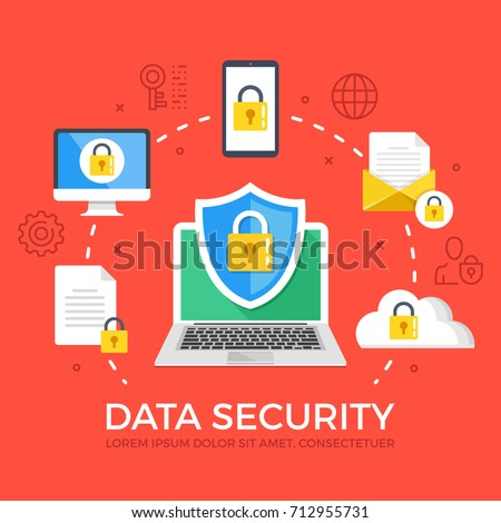 Data security flat illustration concept. Laptop with shield and lock. Creative flat icons set, thin line icons set graphic elements for web banners, web sites, infographics. Modern vector illustration
