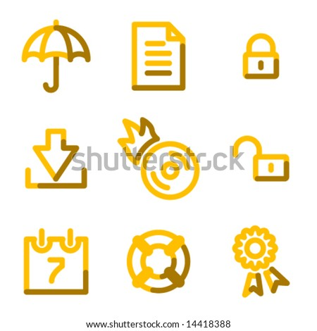 Data security icons, gold contour series