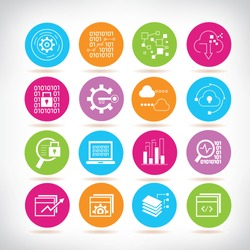 data security icons, information technology, data analytics icons
