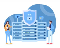 Data Security Illustration with Server Mainframe and Padlock in a Shield as a Concept. This illustration can be use for website, landing page, web, app, and banner.