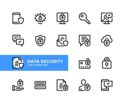 Data security vector line icons. Simple set of outline symbols, graphic design elements.