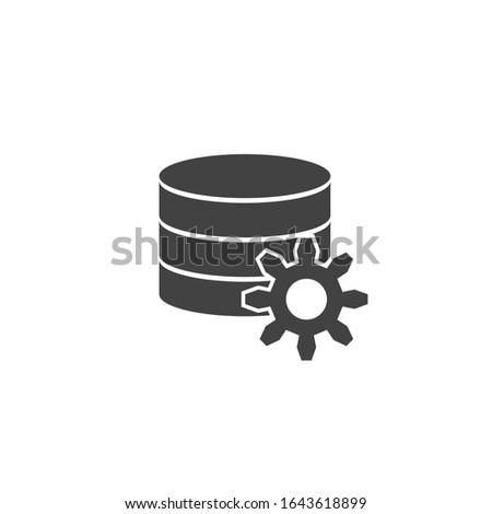 Data settings icon. Tools analyse. Hard disk. Cog wheel illustration. Server computer. Flat minimalist design. Black white vector. product brand service label banner board display. App symbol.