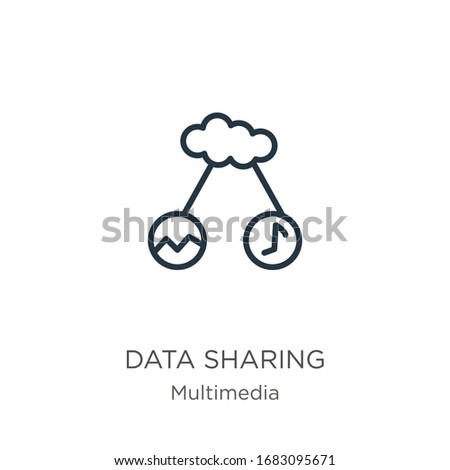 Data sharing icon. Thin linear data sharing outline icon isolated on white background from multimedia collection. Line vector sign, symbol for web and mobile
