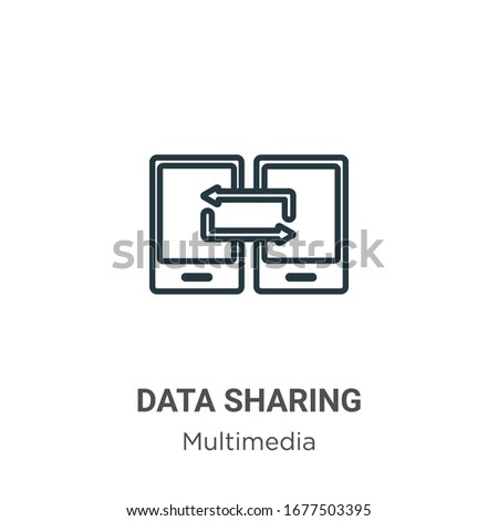Data sharing outline vector icon. Thin line black data sharing icon, flat vector simple element illustration from editable multimedia concept isolated stroke on white background