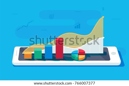 Data sheet on a tablet PC. Sales growth report or analytics investigation, boosted sales graph analytics data for research vector. Analysis on paper sheet document via tablet concept.