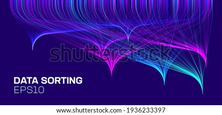 Data sorting analytic HUD. Sorting lines background. Big data vector background Stock foto ©