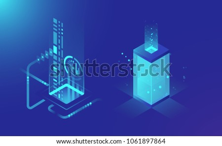 Data storage and processing, abstract technology elements, cloud storage data flow, isometric server rack concept dark blue vector illustration