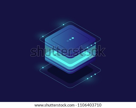 Data storage, personal data protection icon, server room, database and data center, technology block, lighting cube with glass walls isometric vector