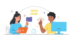 Data transfer concept. Characters exchange files via cloud storage and email. Modern technologies and communications. Cartoon colorful flat vector illustration isolated on a white background