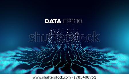 Data tree vector background. Big data technology. Database branch information. Futuristic code flow Foto stock ©