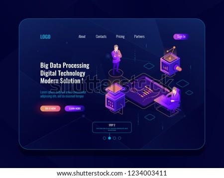 Data visualization concept isometric banner, data analysis, datacenter, dark neon vector