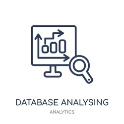 Database Analysing icon. Database Analysing linear symbol design from Analytics collection. Simple outline element vector illustration on white background.