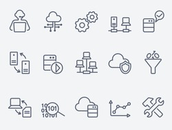Database analytics icons