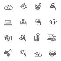 Database analytics information technology digital processign icons black set isolated vector illustration